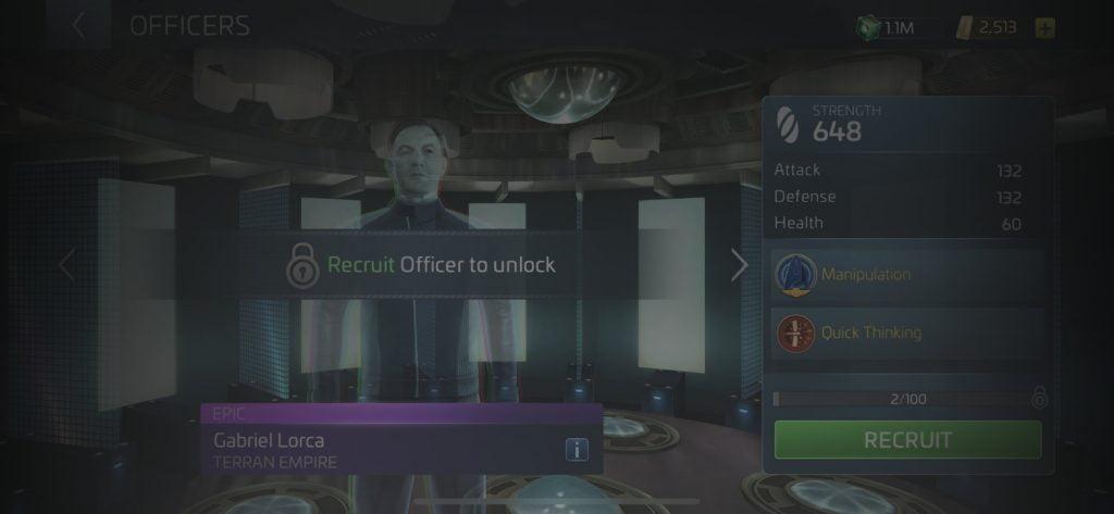 Star Trek Fleet Command Officer Gabriel Lorca