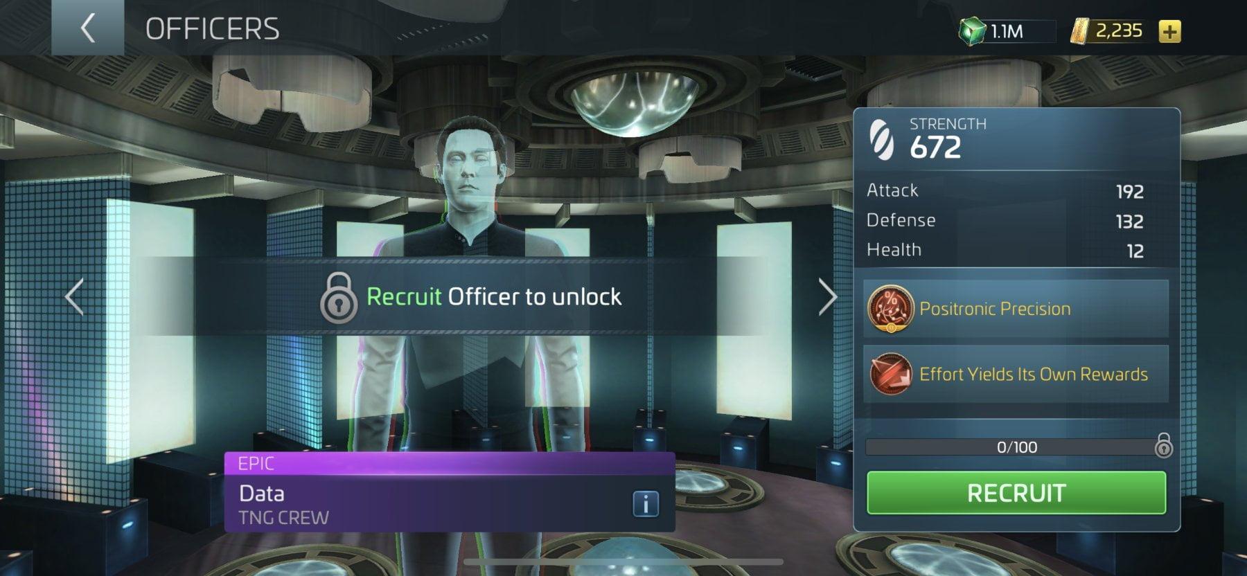 Star Trek Fleet Command Officer Data